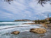 Costa vicino a Rethymno, Creta, Grecia fotografia stock
