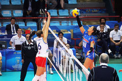 Costagrande attack. A attack of carolina del pilar costagrande in the volley world cup match italy vs azerbaijan played at bari.1/10/2014 stock images
