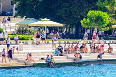 Costal Croatia scenic view during summer day. Costal Croatia by the Adriatic sea during summer day stock photo
