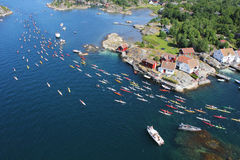 Costal landscape. Beautiful sunny landscape shot from helicopter during the kayak race Blindleialøpet in Lillesand, Norway Stock Images