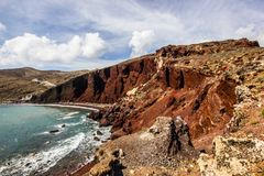 Costal view of the famous beach in Santorini, Greece, Red Beach. One of the most famous beach in Santorini, Greece, Red Beach royalty free stock photos