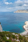 Costal view. High view of the Spanish Mediterranean coast, Calpe stock images