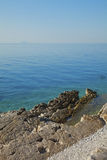 Costal view. Image of costal view. Rocky beach by the sea stock photography