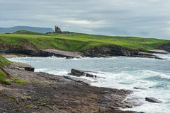 Costal view ireland. With an old castle stock images