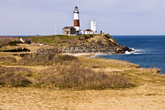 Costal view of Montauk Point Lighthouse. Royalty Free Stock Photo