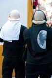 Costaleros nella processione di La Semana Santa Holy Week During E Fotografie Stock