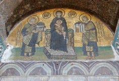 Costantina e Justinian fanno le offerti a vergine Maria Fotografie Stock Libere da Diritti