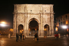 Costantine arch. The ancient roman arch of costantine near the colosseum illuminated.december 2011 Royalty Free Stock Photography