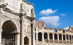 Costantine's arc in Rome, Italy. Triumphal Arch and Colosseum in Roma Royalty Free Stock Image