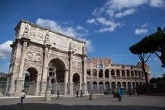 Costantines båge i Rome, Italien arkivbild