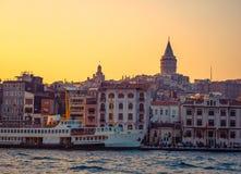 Costantinopoli al tramonto Immagini Stock Libere da Diritti