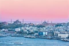 Costantinopoli al tramonto mosques fotografia stock