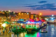 Costantinopoli alla notte Fotografia Stock