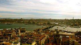 Costantinopoli e fiume di Bosphorus Fotografia Stock Libera da Diritti