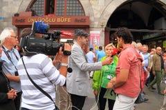 Costantinopoli: Guide turistiche d'intervista immagini stock libere da diritti