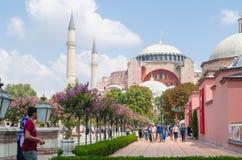 COSTANTINOPOLI, TURCHIA - 3 agosto 2016: Vista del museo di Hagia Sophia (Ayasofya) da Sultan Ahmet Park Fotografie Stock Libere da Diritti