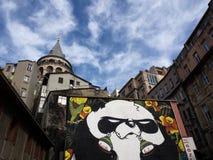 Costantinopoli, Turchia - 24 gennaio 2015: Gigante Panda Graffiti e la torre di Galata a Costantinopoli Fotografie Stock Libere da Diritti