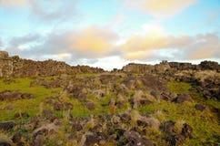 Costas alrededor de la isla de pascua fotos de archivo