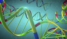 Costas do ADN com as ligações transversais quebradas de Interstrand em Backgrou azul ilustração do vetor