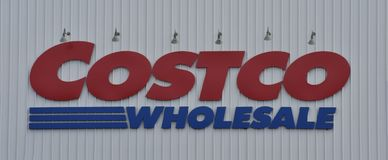 A Costco Wholesale warehouse sign