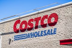 Costco Wholesale logo. August 6, 2018 Mountain View / CA / USA - Costco Wholesale logo displayed on the wall of one of the stores in south San Francisco bay area royalty free stock photo