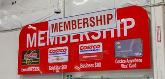 Costco Wholesale Membership Sign. Costco Wholesale Corporation is largest membership-only warehouse club in US. stock images
