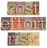 Coste, esfuerzo, riesgo - concepto del asunto Imagenes de archivo