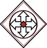 Coste por cuadrado delantero del logotipo de la milla stock de ilustración