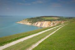 Costeggi l'isola di Wight della baia dell'allume del percorso accanto all'attrazione turistica degli aghi Fotografia Stock Libera da Diritti