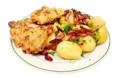 Costeleta de carne de porco fritada com batatas Fotos de Stock Royalty Free