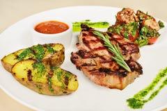 Costeleta de carne de porco grelhada Fotografia de Stock