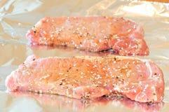 Costeleta de carne de porco Uncooked Fotos de Stock Royalty Free