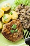 A costeleta de carneiro fritada da carne de porco serviu com batatas fervidas e fritou sauer Fotos de Stock Royalty Free