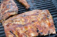 Costeleta de porco magra na grade com mergulho e o baguette brindado Foto de Stock Royalty Free