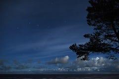 Costellazione dell'orsa maggiore delle stelle del cielo notturno sopra le nuvole fotografia stock