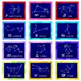 Costellazioni della carta dell'illustrazione di vettore dello zodiaco Immagine Stock