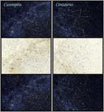Costellazioni di Centaurus e di Cassiopeia Fotografie Stock Libere da Diritti