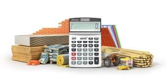 Costes calculadores de los materiales Sistema de materiales y de herramientas de construcción con la calculadora stock de ilustración
