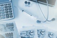 Costes de la atención sanitaria o seguro médico Foto de archivo