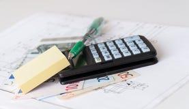 Costes de la casa de las hojas de operación (planning) imagen de archivo