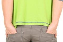 Costes del adolescente que empujan las manos en bolsillos Imágenes de archivo libres de regalías