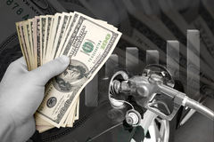 Costes del combustible de levantamiento Fotografía de archivo