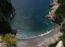 Costiera Amalfitana. Amalfitana coast, Italy, Gulf of Salerno, lonely beach near Maiori Stock Image