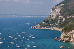 Costiera amalfitana. View of a beach from Vico Equense in the Amalfi coast Royalty Free Stock Photos