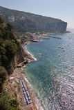 Costiera amalfitana. View of a beach from Vico Equense in the Amalfi coast Royalty Free Stock Images