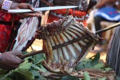 Costillas africanas de la cabra del berbcue choma del nyama 'de la carne de la carne asada del ' fotos de archivo libres de regalías
