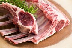 Costillas crudas crudas del cordero Carne sin procesar Alimento de Halal foto de archivo libre de regalías