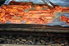 Costillas de Barbequing en el fuego del carbón de leña Foto de archivo libre de regalías