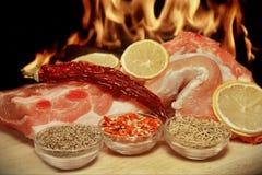 Costillas de cerdo frescas con la especia XXXL Fotografía de archivo libre de regalías