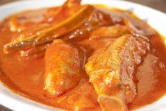 Costillas y salchichas en salsa de tomate Imagen de archivo